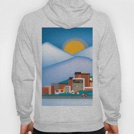 Anchorage, Alaska - Skyline Illustration by Loose Petals Hoody