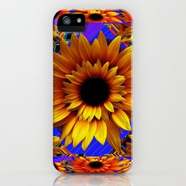 GOLDEN SUNFLOWERS BLUE AESTHETIC PATTERN iPhone Case