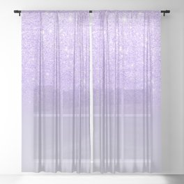 Modern purple sparkles ombre glitter lilac pastel color block Sheer Curtain