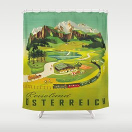 Austria Vintage Mid Century Modern Travel Poster Beautiful Green Mountain Landscape Diagram Shower Curtain
