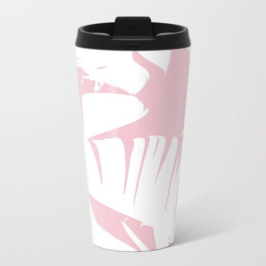 White on Pink Tropical Banana Leaves Pattern Metal Travel Mug
