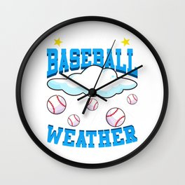 It's Always Baseball Weather Raining Baseballs Wall Clock