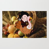 thanksgiving Area & Throw Rugs featuring Thanksgiving turkeys by Afro Pig