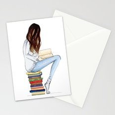 Girl and books Stationery Cards