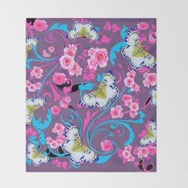 PINK ROSES & BUTTERFLIES  BLUE SCROLLS ART Throw Blanket