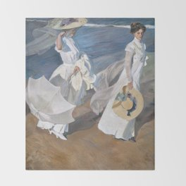Joaquín Sorolla y Bastida - Strolling along the Seashore Throw Blanket