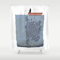 gladiator Shower Curtains featuring FISH by karakalemustadi