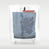 cigarettes Shower Curtains featuring FISH by karakalemustadi