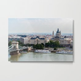 Aerial view of Chain Bridge and St. Stephen's Basilica - Budapest Metal Print