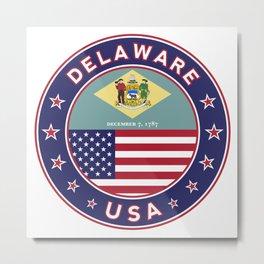 Delaware, Delaware t-shirt, Delaware sticker, circle, Delaware flag, white bg Metal Print