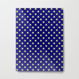 Electric Yellow on Navy Blue Stars Metal Print