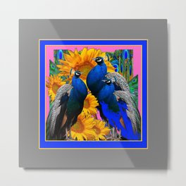 BLUE PEACOCK &  PINK-GREY COLOR YELLOW FLOWERS Metal Print