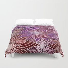 FLORAL IN RED AND VIOLET Duvet Cover