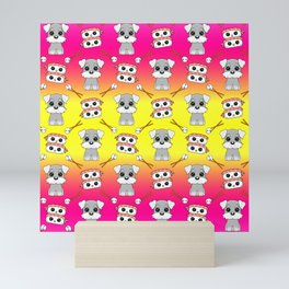 Cute cuddly funny baby Schnauzer puppies, happy cheerful sushi with shrimp on top, rice balls and chopsticks bright sunny yellow and pink pattern design. Mini Art Print