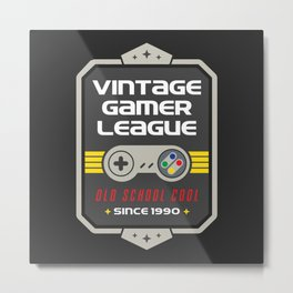 Geeky Gamer Chic Classic Vintage Gaming SNES Inspired Vintage Gamer League Old School Cool Metal Print