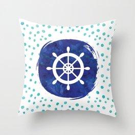 Watercolor Ship's Wheel Throw Pillow