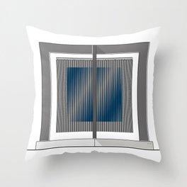 Escultura Cubo virtual azul y negro con progresión amarilla Throw Pillow
