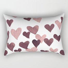Valentine's Day Watercolor Hearts - dark pink Rectangular Pillow