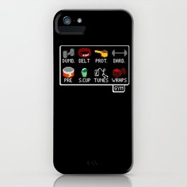 The Lifter's Inventory - Gym Equipment Pixel Art iPhone Case