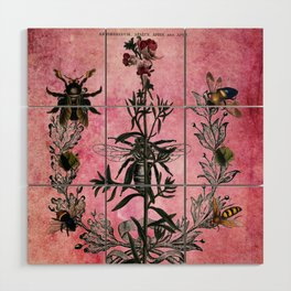 Vintage Bees with Toadflax Botanical illustration collage Wood Wall Art