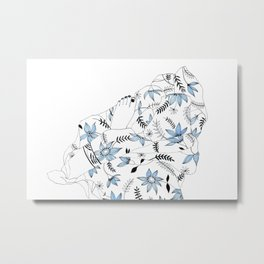Blue Flowers in My Bed Metal Print
