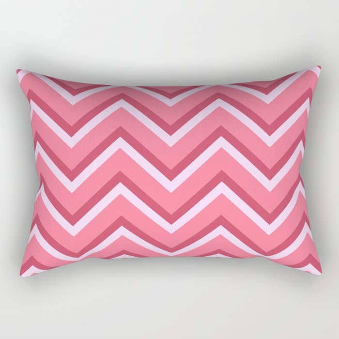Pink Zig Zag Pattern Rectangular Pillow