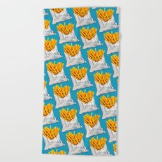 French Fries Pattern Beach Towel