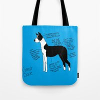 great dane Tote Bags featuring Great Dane by Lindsay Beth
