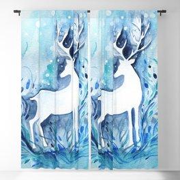 White Deer Watercolor Blackout Curtain