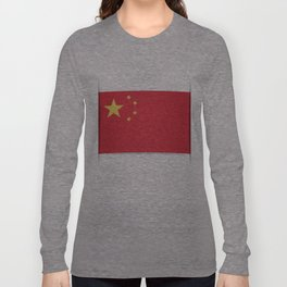Flag of China. The slit in the paper with shadows. Long Sleeve T-shirt