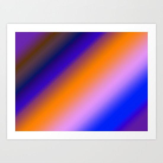 Orange & Blue Stripes Art Print
