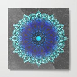 Blues Watercolor Mandala Metal Print