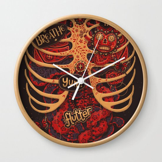 Anatomical Study - Day of the Dead Style Wall Clock