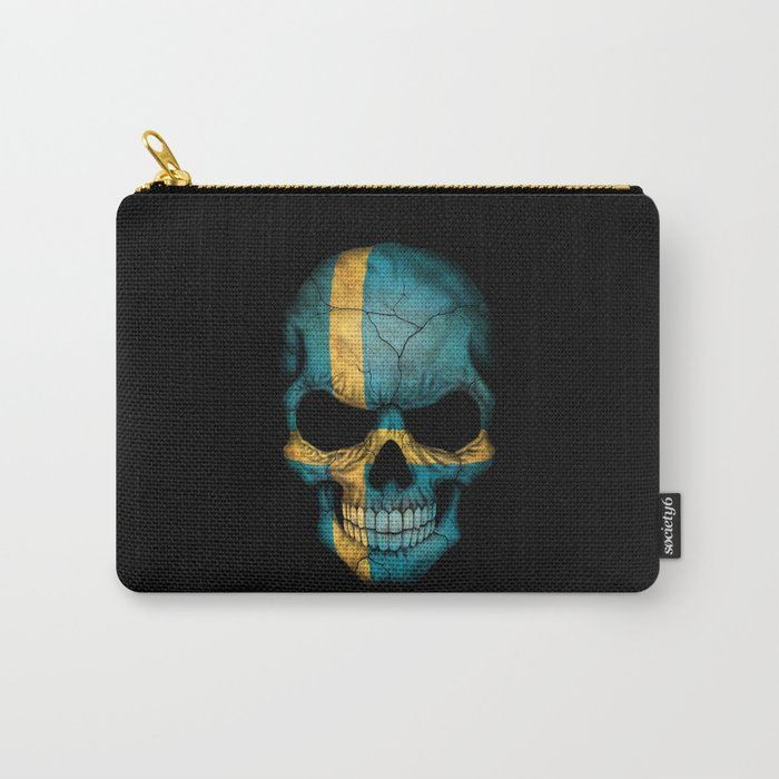 Dark Skull with Flag of Sweden Carry-All Pouch
