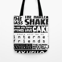 edm Tote Bags featuring EDM death machine by Alex Terry