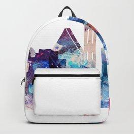 Blue Watercolor Dallas skyline design Backpack