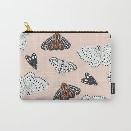Muted Illustrated Moth Pattern Carry-All Pouch