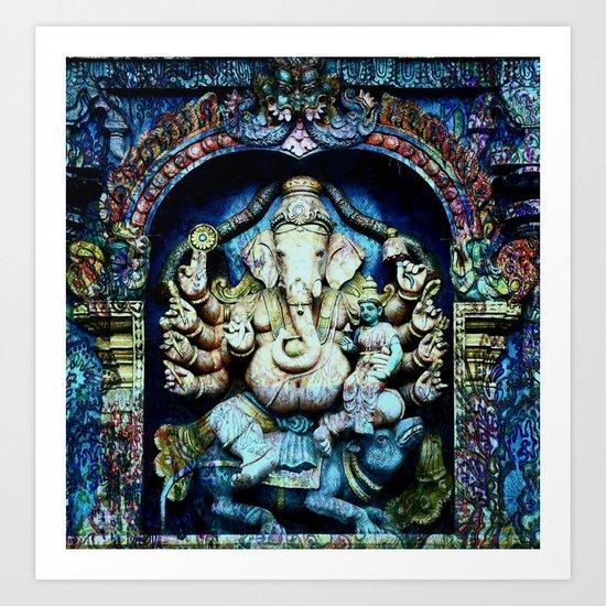 Boho Ganesha and Krishna Art Print