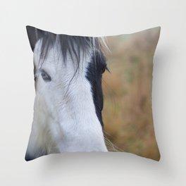 Black and White Horse Portrait Throw Pillow