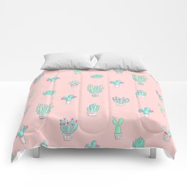 Little succulent pattern on pastel pink Comforters