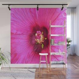 Deep Pink and Crimson Hibiscus Flower Macro Wall Mural