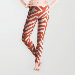 Boho Herringbone, Mudcloth Pattern, Orange Coral Leggings