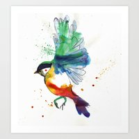 birdy Art Prints featuring Birdy by Annaleigh Louise