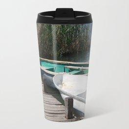Reeds, Rowing Boats and Old Jetty at Dalyan Travel Mug