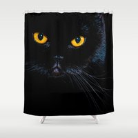 black cat Shower Curtains featuring Black cat by Vlad&Lyubov