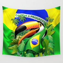 Toco Toucan with Brazil Flag Wall Tapestry