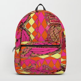ABSTRACT MONARCH BUTTERFLY IN PINK-YELLOW Backpack