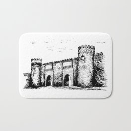 Old Tower Gate Ink Art Bath Mat