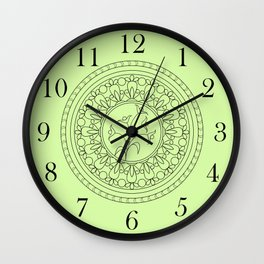 green boho pattern with mandalas and flowers Wall Clock
