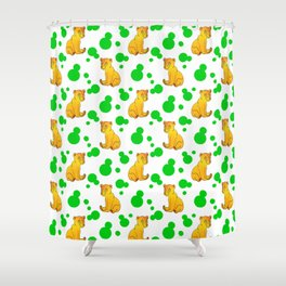 Little bears. Cute adorable funny baby bear cubs bold green retro dots white seamless pattern Shower Curtain